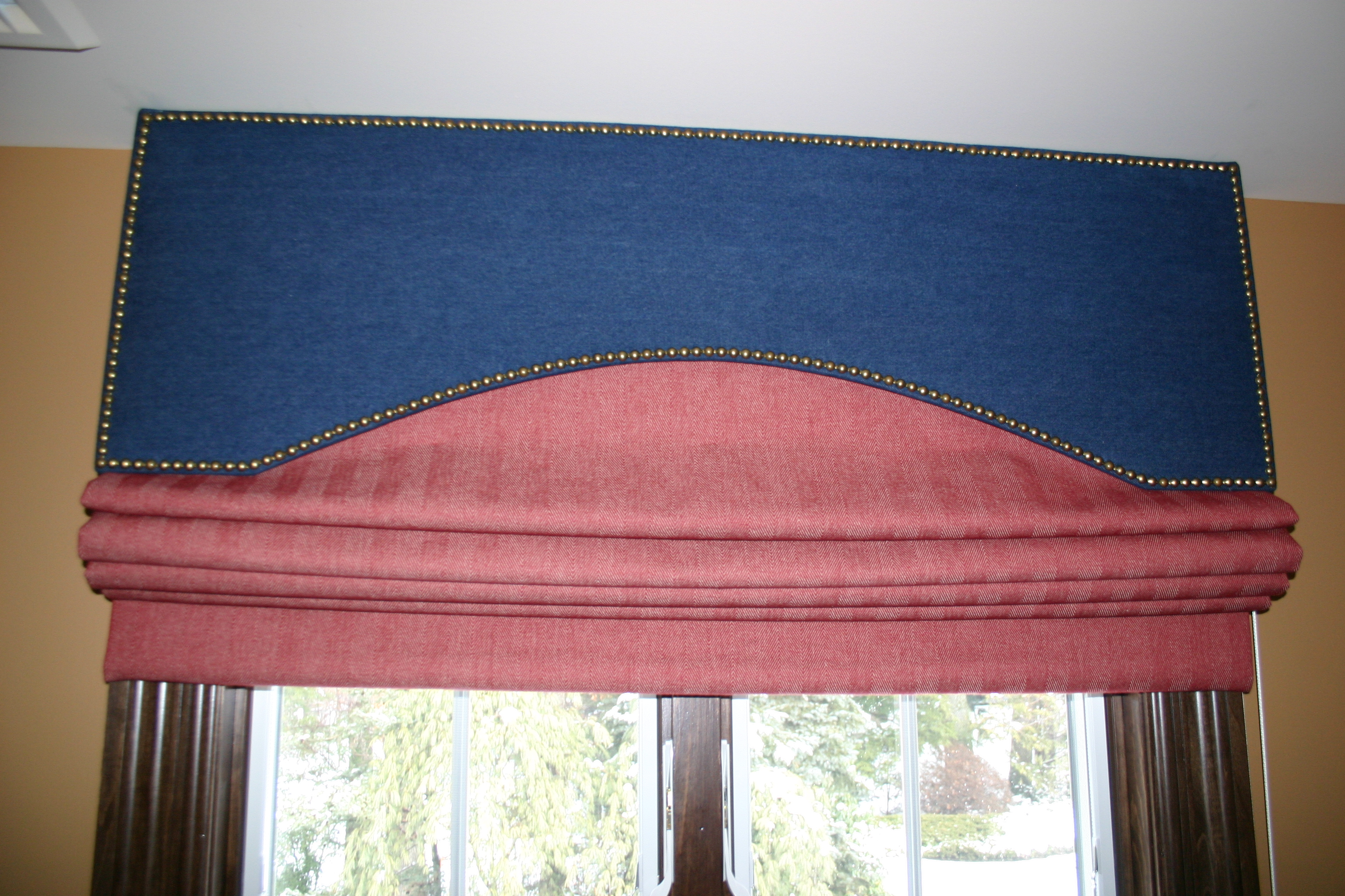 in window roman placed a hunter over faux douglas pin silhouettes bay valance